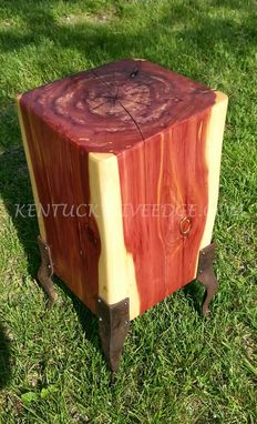 Custom Made Geometric Side Table, Cube Table, Log Table, Wooden End Table