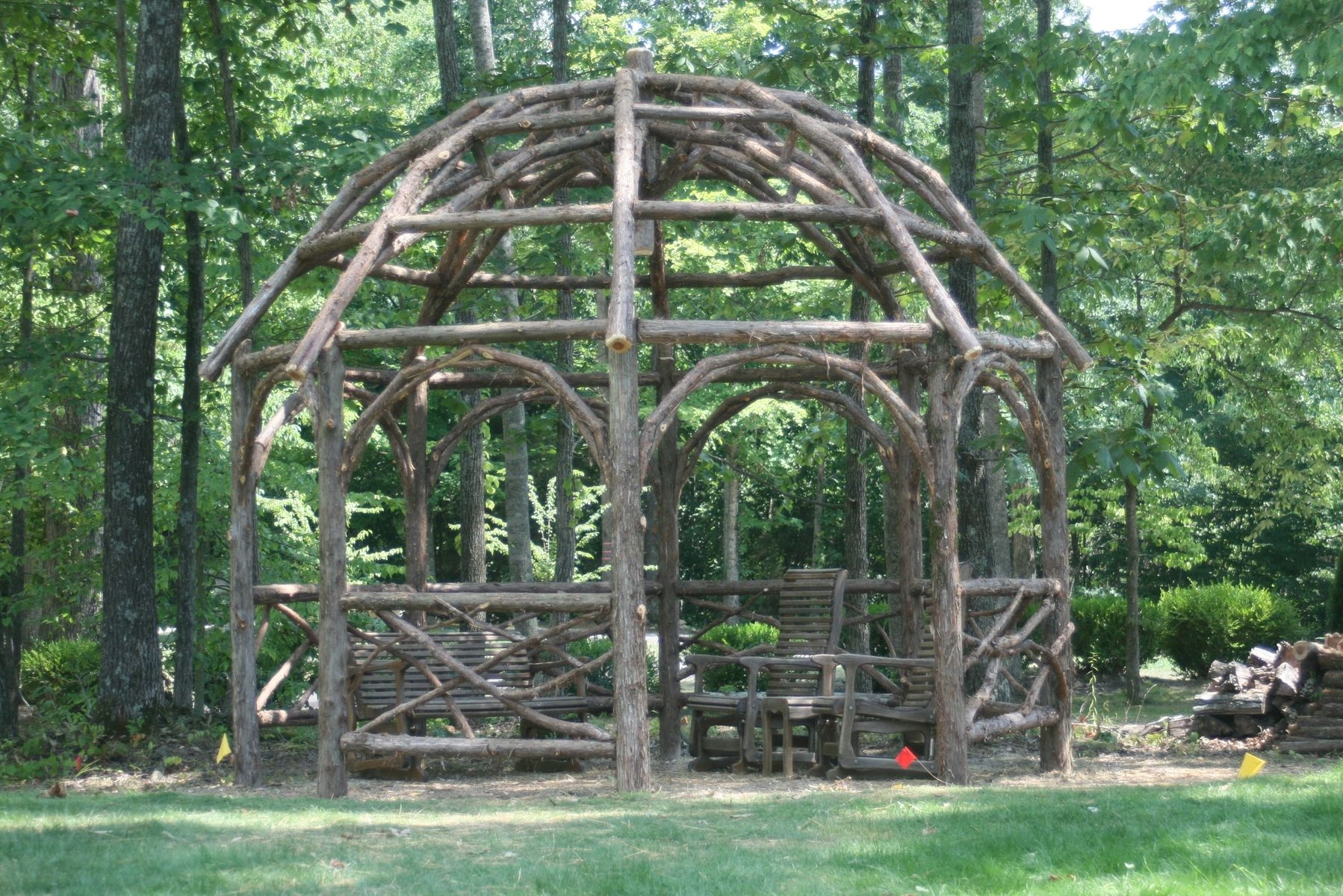 Custom Made Rustic Dome Roof Cedar Pergola By Rustic