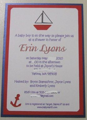 Custom Made 40 Nautical Custom Handcrafted Baby Shower Invites With Diecut