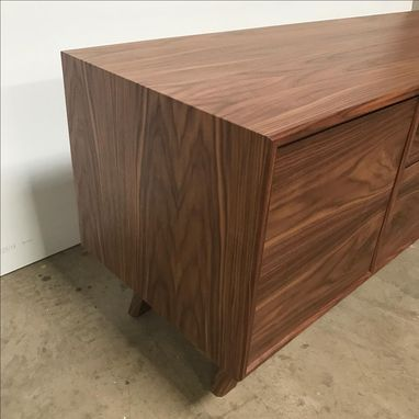 Custom Made Custom Black Walnut Credenza With Waterfall Edge