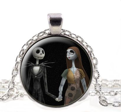 Custom Made Nightmare Before Xmas, Jack Skellington And Sally, Whimsical, Gift Pendant Necklace