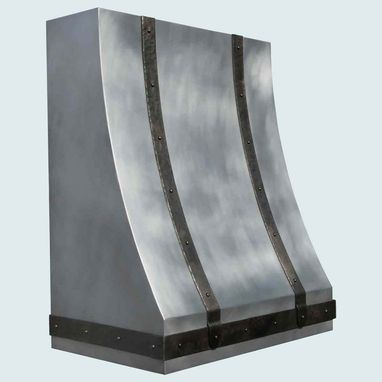 Custom Made Zinc Range Hood With Hammered Steel Straps