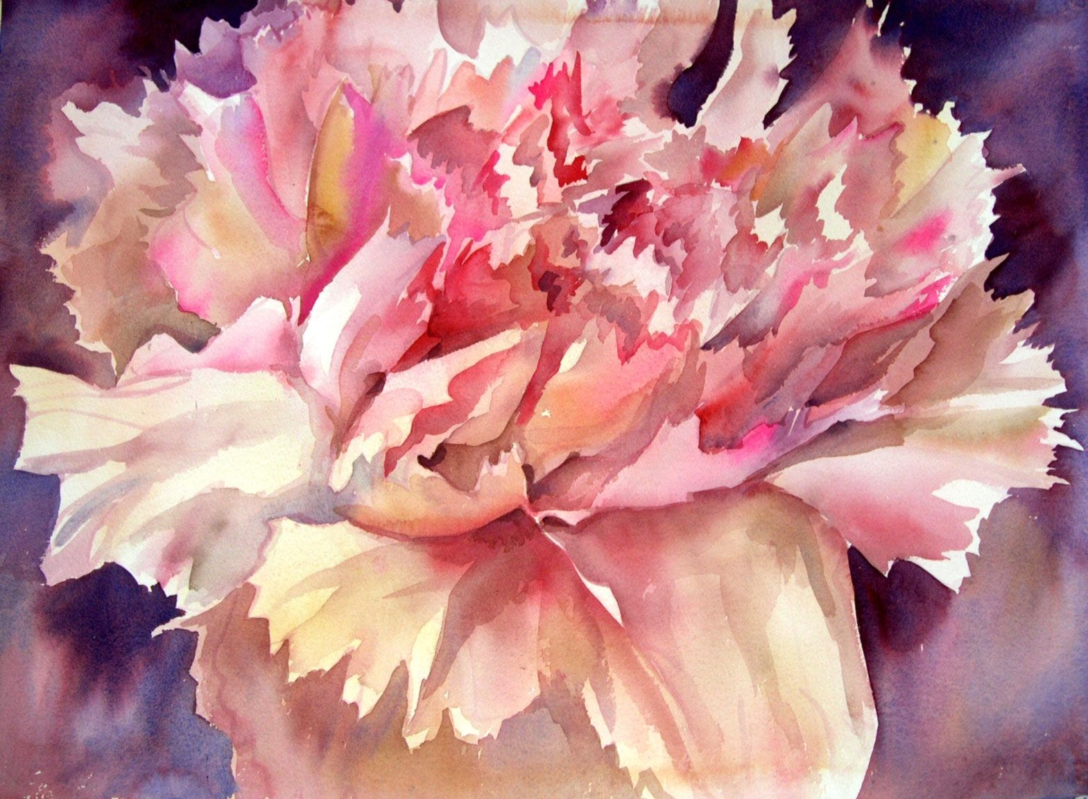 Hand made floral contemporary watercolor paintings by sri for Modern flower paintings