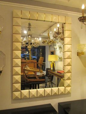 Custom Made Custom Geometric Parchment Mirror With Inlaid Brass.