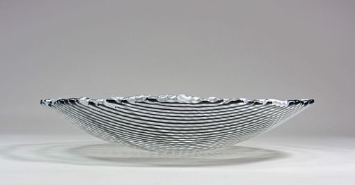 Custom Made Art Glass Bowl Black And White Stripes 9 Inch Fused Glass