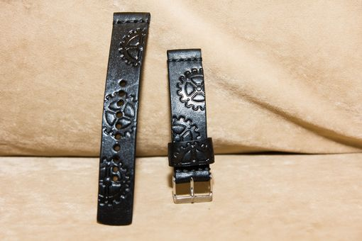 Custom Made Watch Strap Custom Tooled (Steam-Punk, Sprocket)