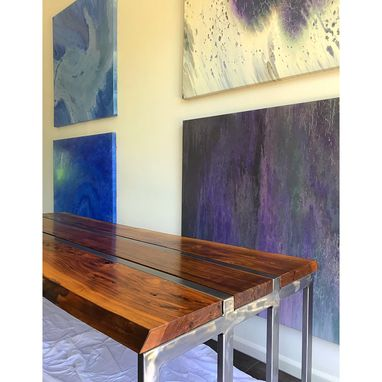 Custom Made Figured Walnut And Steel Dining Table With Bench