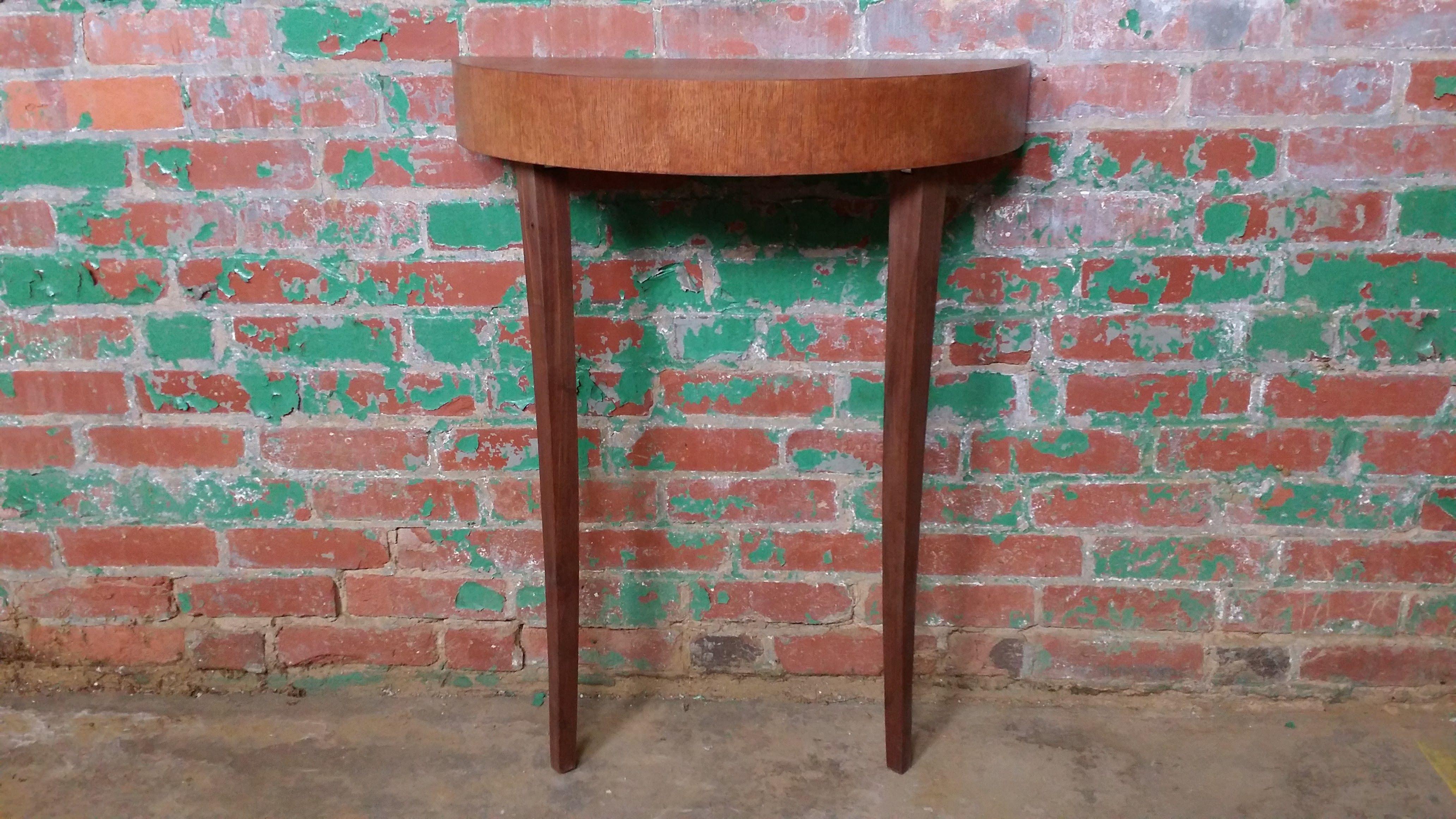 Custom Made Two Legged Leaning Console Table Quarter Sawn Oak And Black Walnut
