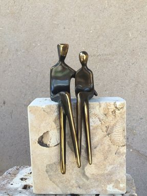 Custom Made Bronze Sculpture Of Lovers, Mounted On Stone Base