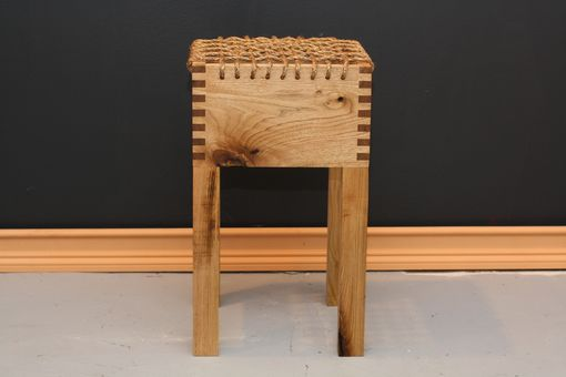Custom Made Stout Stool In White Walnut And Manila