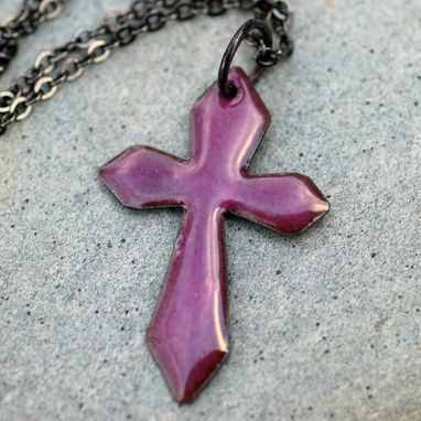 Custom Made Copper Enamel Gothic Cross Pendant Necklace Mauve