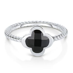 Custom Made Stackable Black Onyx And Sterling Silver Twisted Wire Clover Ring