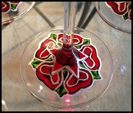 Custom Made Hand Painted Wine Glasses. Custom Valentine's Day Tudor Flower Abstract Design