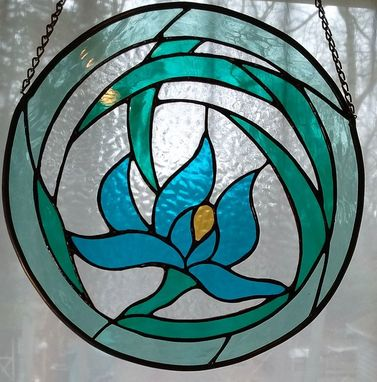 Custom Made Orchid Deco Stained Glass  Round Window