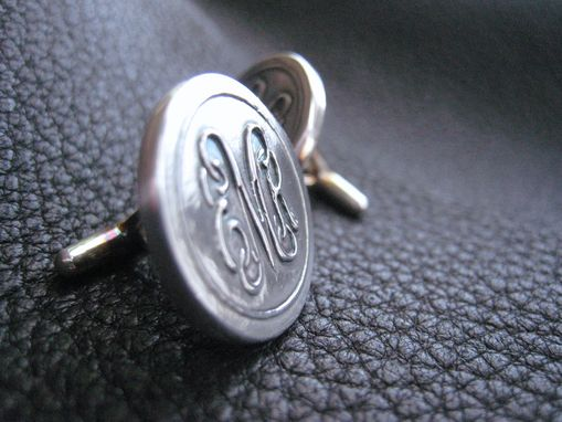 Custom Made Sterling Silver Cufflinks With Vine Monogram Entwined Interlaced Script Letters