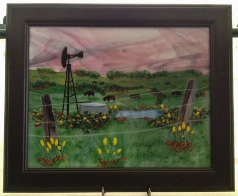 Custom Made Pasture Landscape Picture Made From Fused Glass