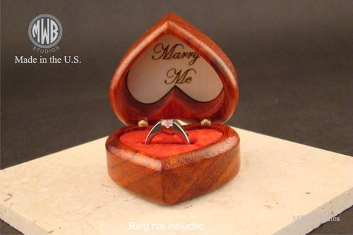 Custom Made Solid Padauk Heart Shaped Ring  Box.  Free Engraving And Shipping. Rb-65