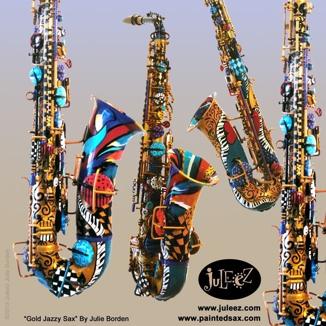 Custom Made Colorful Hand Painted Saxophone Musical