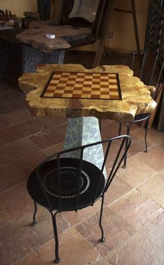 Custom Made Cedar Slab Over Concrete Chess Tables