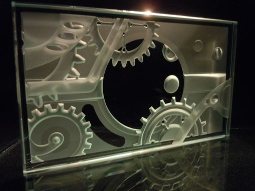 Custom Made Steampunk Etched Glass Paperweight - Gears And Mechanical Works Of Art