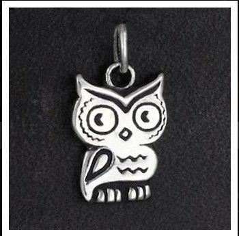 Custom Made Lucky Charm Owl In Sterling Silver.