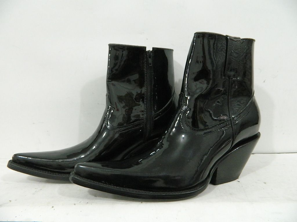 Hand Crafted Made To Order Patent Leather Ankle Boots With