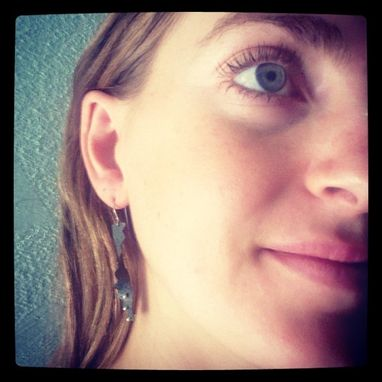 Custom Made Blue White Dot Earrings - Spike Edge Earrings Bohemian