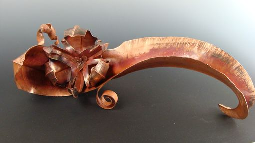 "Custom Made Hand Forged Copper Sculpture ""Adaptation"" On Wood Base"
