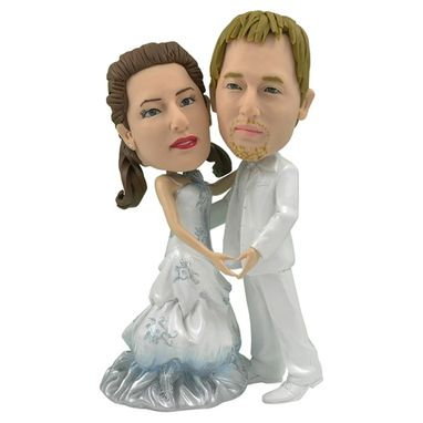 Custom Made Personalized Wedding Cake Topper Of Pearly Couple