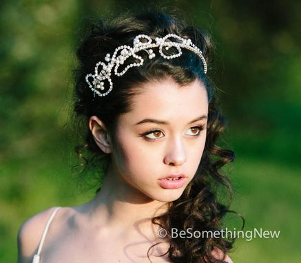 Custom Made Whimsical Wired Rhinestone Tiara, Wedding Hair Accessory