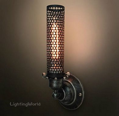 Custom Made Vintage Metal Mesh Wall Sconce Industrial Wall Lamp Rustic Retro