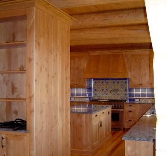 Custom Made Knotty Alder Kitchen Cabinets - Solid Wood Construction
