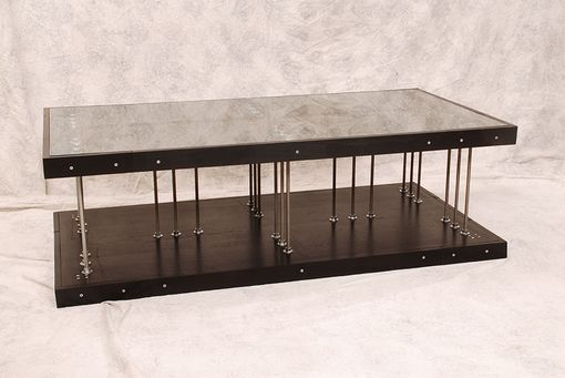Custom Made Wood And Steel Industrial Coffee Table