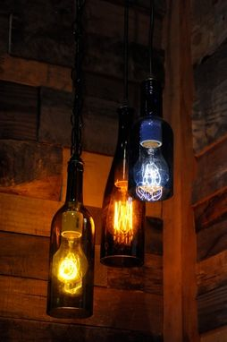 Custom Made Recycled Glass Wine Bottle Pendant Lamp With Edison Lightbulb