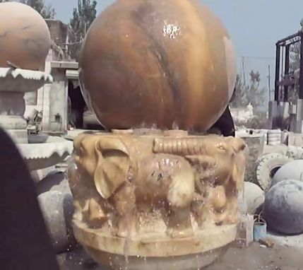 Custom Made Stone Fountain Marble Floating Ball With Elephant Carved Base