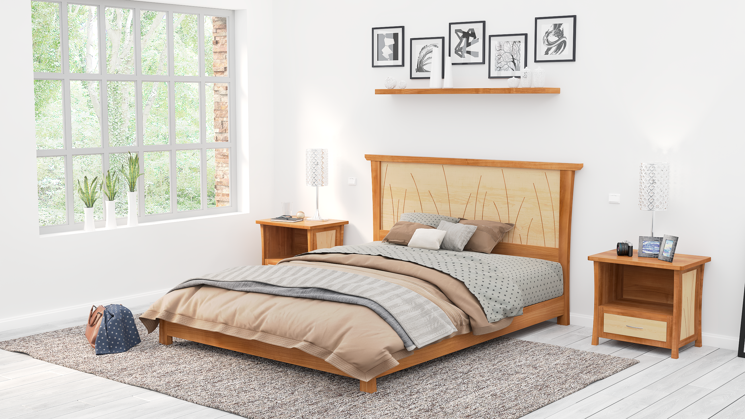 Custom Made Platform Bed Queen Size Cherry King Low Bed Frame Solid Wood Headboard By