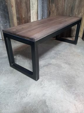 Custom Made Coffee Table In Native Ash And Blackened Steel