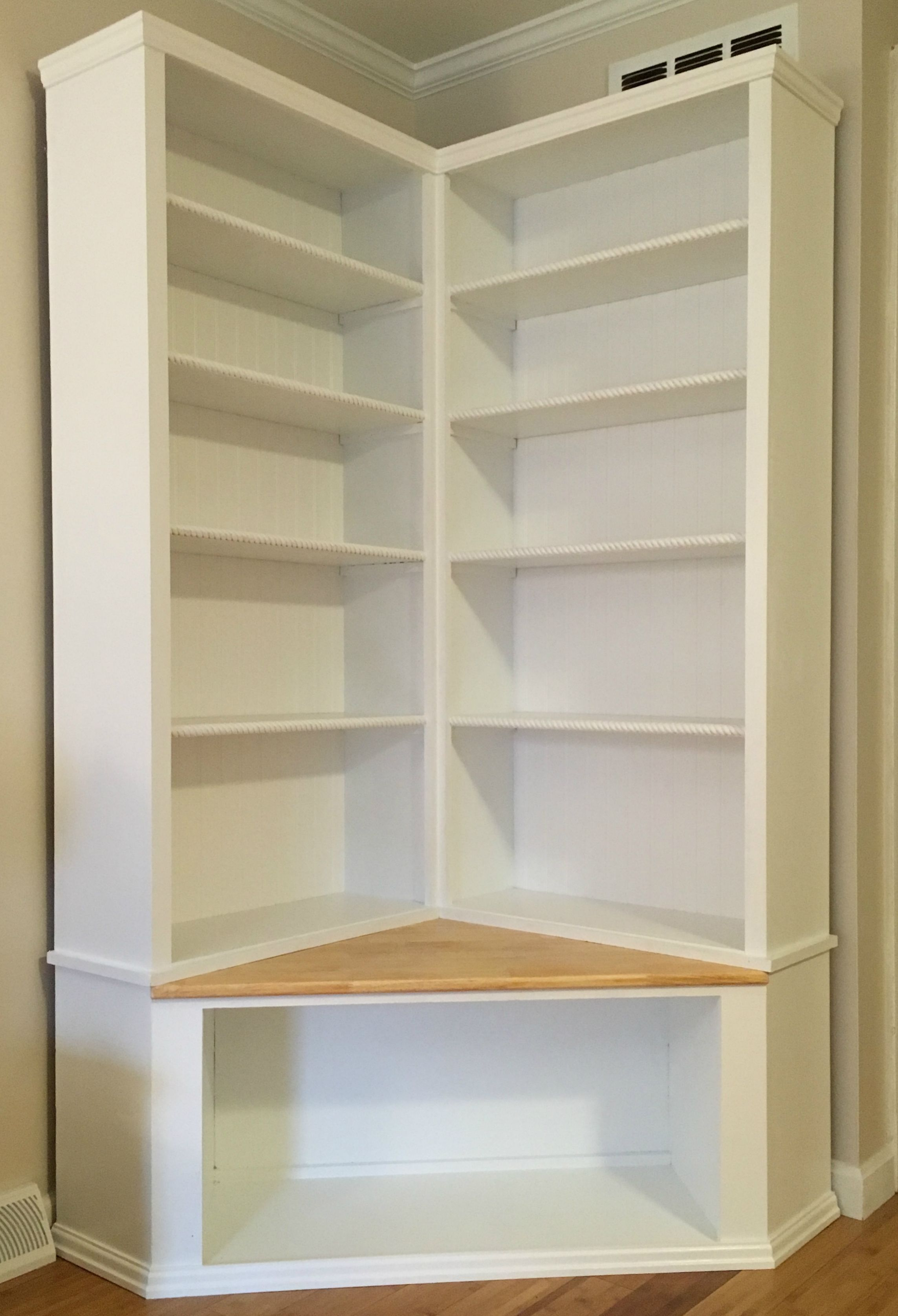 Custom Made Shabby Chic Corner Bookcase With Seat by The Crabby