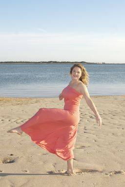 Custom Made Bandeau Maxi Dress In Coral Bamboo