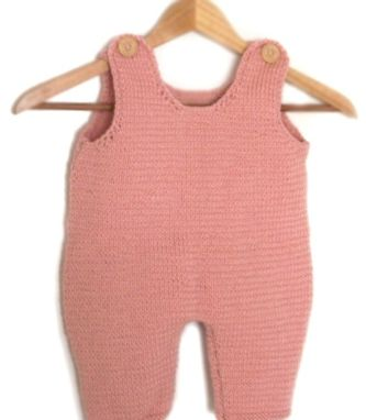 Custom Made Hand Knit Overalls 6 Months Mauve