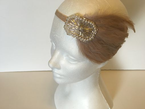 Custom Made Wedding Headpiece, Bridal Headband, 1920s Gatsby Wedding, Beige Feather, Champagne Headbands