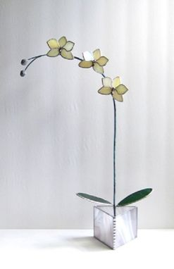 Custom Made Orchid-Kaliedoscope-In Ever-Blooming 3d Iridescent Ecru Stained Glass