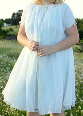 Custom Made Vintage 50s Chiffon Peignoir Slip And Robe Set In Blue And Ivory Wedding Bridal Lingerie M L