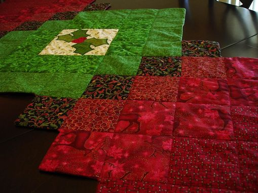 Custom Made Red And Green Holly Table Runner With Applique