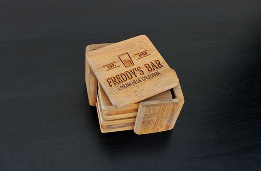 Custom Made Custom Bamboo Coasters, Custom Engraved Coasters --Cst-Bam-Freddys Bar Classic