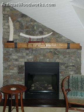 Custom Made Fireplace Mantel With Metal Straps