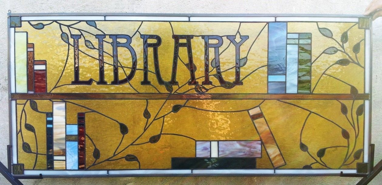 Custom Distinguished Stained Glass Library Window / Books And Leaves ...