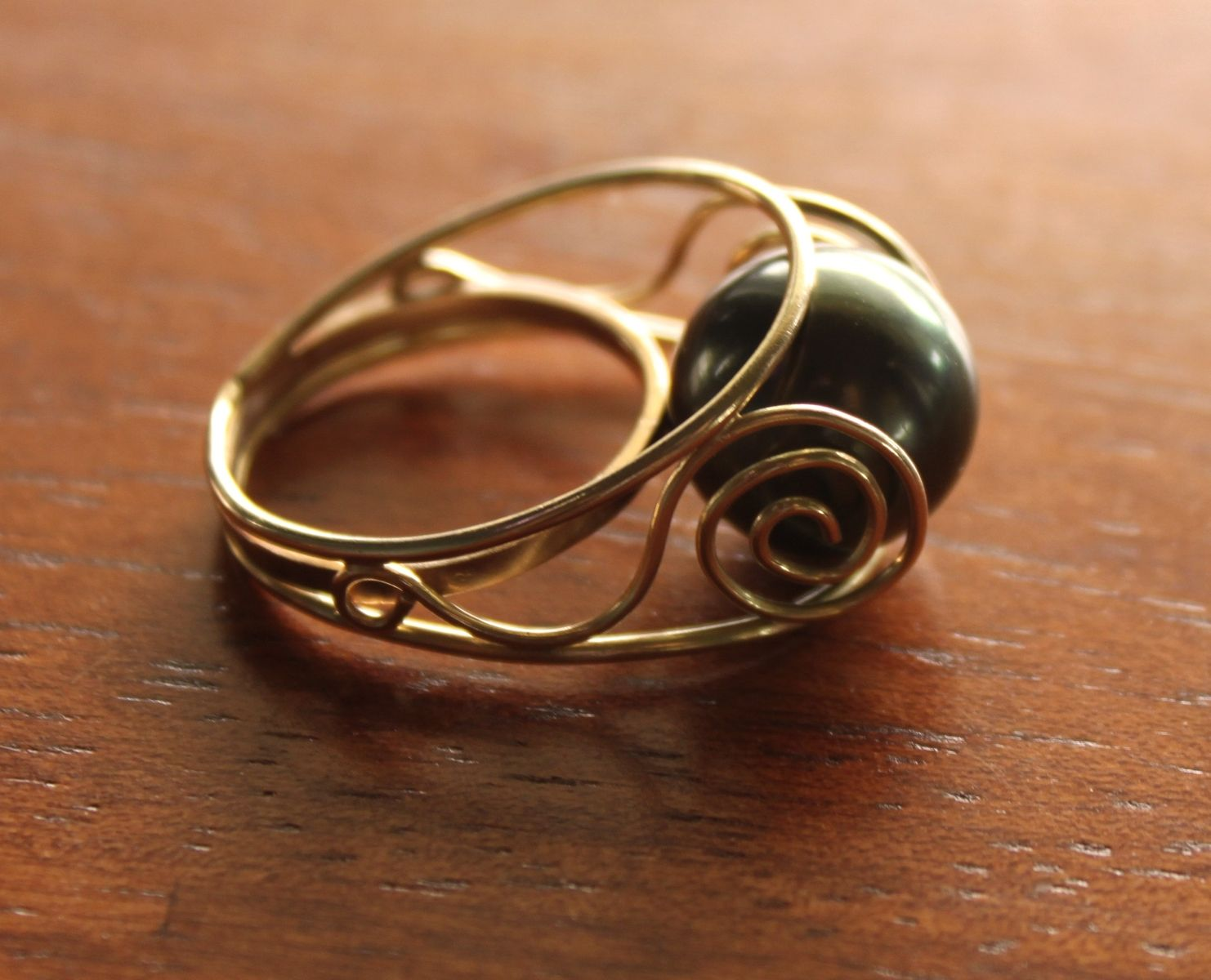 handmade tahitian pearl ring by mg designs. Black Bedroom Furniture Sets. Home Design Ideas