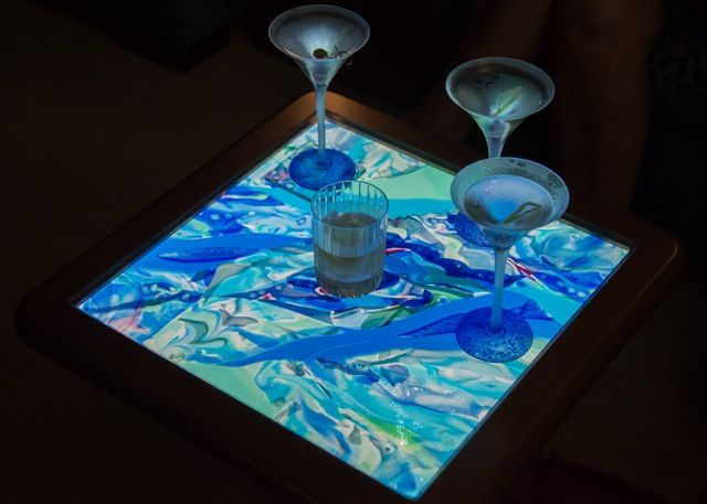 Custom Made Fused Glass Cocktail Table Top By Caron Art