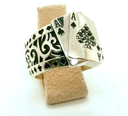 Custom Made Mens Custom Black Diamond Poker Ring